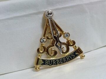 正規 Burberryバーバリー ライトストーン×ロゴ文字 スイングブローチ金 可動式針