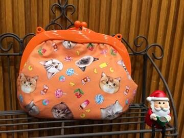 コヤンイサムチョン 猫ちゃん がま口ポーチ ハンドメイド orange