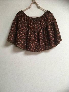 小花柄ミニスカート(キュロット)・ブラウンMサイズ