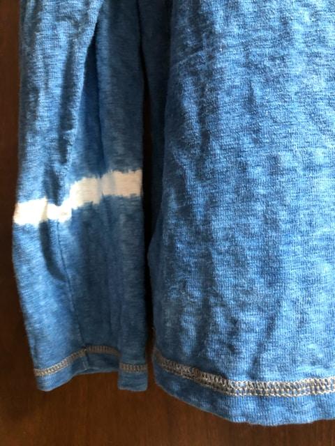 藍染、ヘンリーネックロンT(厚手)綺麗。1点物。 < 男性ファッションの