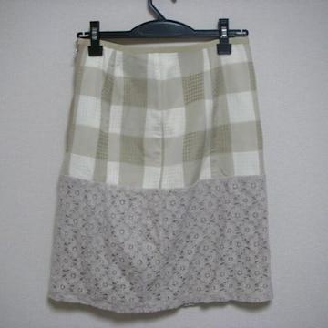 デザイン スカート ひざ丈 Mくらい ベージュ系