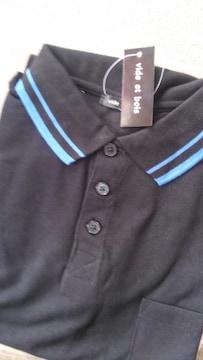 Mサイズ!襟の青ラインがワンランク上の!高貴紳士的!黒色!半袖ポロシャツ!新品!