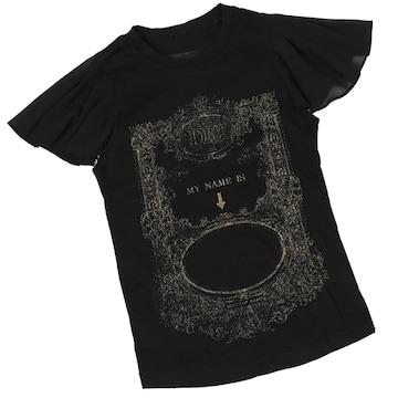 DRESS CAMP◆フリル付きTシャツ◆黒×金◆ドレスキャンプ/38