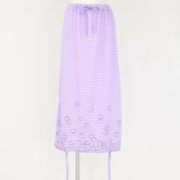 mintNeko・ネコ&ボーダー柄変形ロングスカート。ラベンダー
