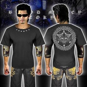 送料無料般若柄半袖Tシャツ 派手ヤクザ オラオラ系和柄上下服18002白黒-5L