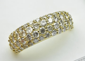 【ゴージャス】K18 パヴェ 1.60ct ダイヤモンドリング 11.5号