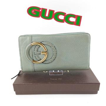 ◆ グッチ GUCCI カーフレザー インターロッキング ロゴ ラウン