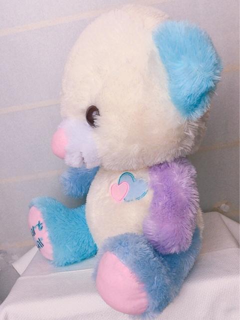 Heart Bear 青と紫のパステルカラーお耳 クマのぬいぐるみ 大 < おもちゃの