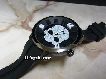 新品☆ジルコニア 黒 ラバー スカル腕時計