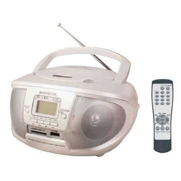 WINTECH USB/SD再生対応 リモコン付きCDラジオ パールホワイト M