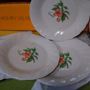 さくらんぼ柄 絵皿5枚未使用