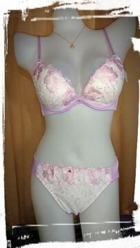 �A N1228 C75/L パープル ピンク刺繍 ブラジャーショーツセット パンティー