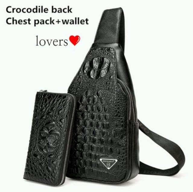 送料無料ブラック黒ワニ革クロコダイル高級フェイクレザーバッグ  < 女性ファッションの