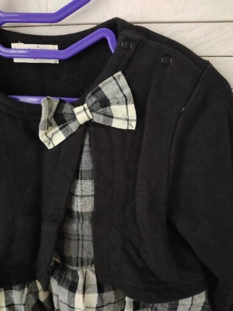 knit planner/重ね着風リボンチェックブラウスワンピース/黒/95 < キッズ/ベビーの