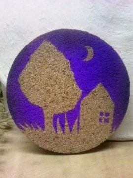 自作イラストハンドメイドコルクコースター25/月夜の庭/紫