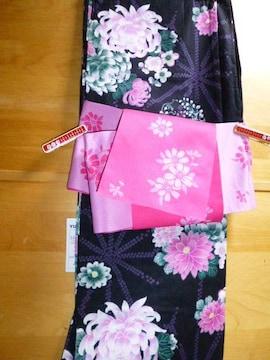 浴衣と帯二点セット黒ピンク菊フラワー花柄レディース新品