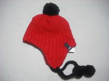 06 女 RIP CURL リップカール 耳当て ボンボン付き ニット帽 赤