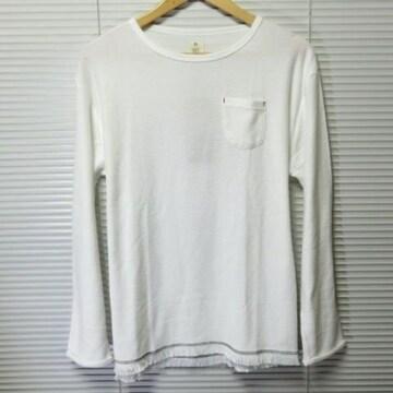 SALE裾フリンジツイストスラブニットソー Tシャツ O/WH/L