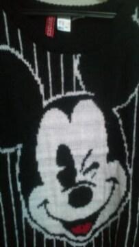 used美品「H&M」Disneyコラボ*Mickeyピンストライプ*ざっくりニット