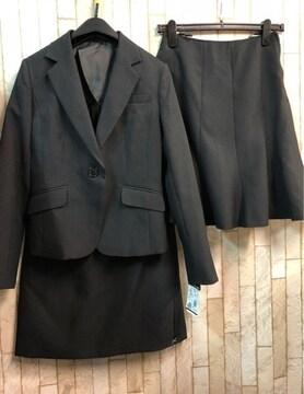 新品☆7号お仕事に!スカート2種付きスーツ黒ストライプ☆s514