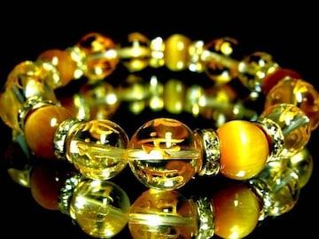 十二支梵字水晶12・10ミリ‡ゴールデンタイガーアイ10ミリ金ロンデル珠数