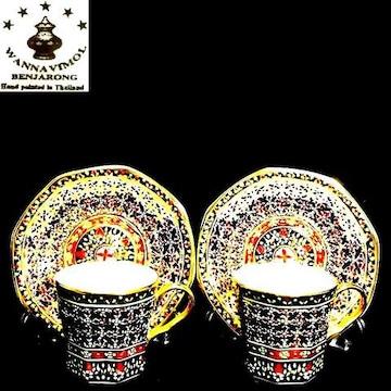 タイ王室御用達超高級ベンジャロン18K盛カップ&ソーサー2客