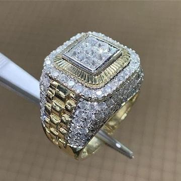 18kイエローゴールドGPダイヤモンドcz重量級リング指輪15号