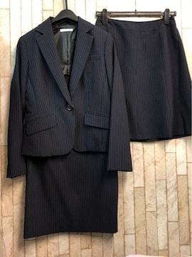 新品☆11号♪紺×ストライプ系スカート2種類付スーツ♪☆j344