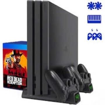 PS4 縦置きスタンド コントローラ充電スタンド2台付き 高性能PS