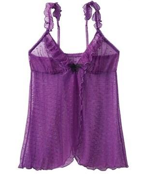 LLサイズ!胸元にパピヨン!高貴な紫色ドッド柄!前後開きベビードールスリップ