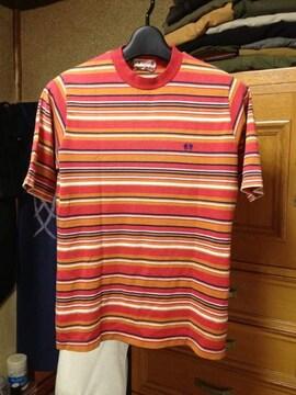 古着ヴィンテージ マックレガー レトロ ボーダー 半袖Tシャツ Sサイズ 赤+オレンジ ラコステ