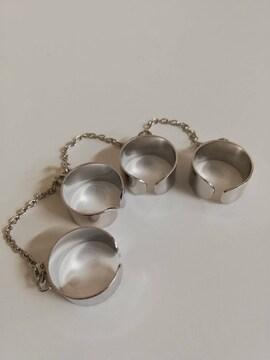4連リング 指輪 シルバー フリーサイズ