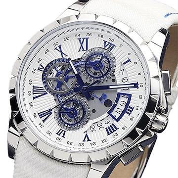 サルバトーレマーラ クオーツ腕時計SM13119D-SSWHBLWH ホワイ