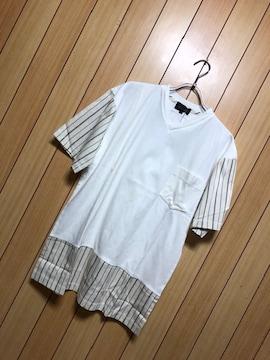 新品タグ付きNICOLE★異素材ドッキングTシャツ