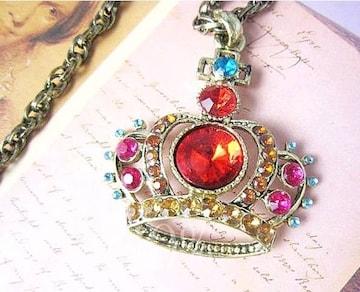 新品ゴスロリ姫系アンティーク調きらきら宝石王冠ネックレス