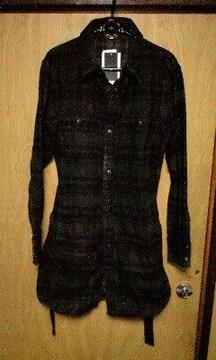 新品SHELLACシェラック 顔料コーティングロングチェックシャツ 44