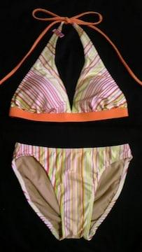 マリクレール フォーラム〓刺繍ロゴボーダーストライプ柄三角ビキニ水着〓ビタミンカラー 7S
