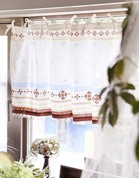 フェズカフェカーテン モロッコ 棚目隠し キッチン小窓 特価