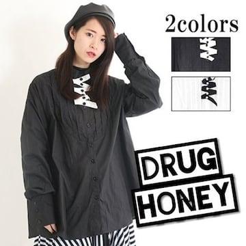 Drughoney★ユニセックス★タックデザインシャツ/黒