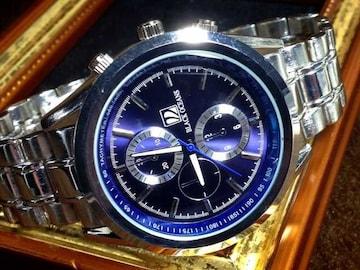 目を引く爽やかなブルー♪Black Oceansメンズ金属腕時計