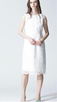 ケーブルコード刺繍ワンピースドレス白ホワイトgracecontinental
