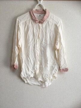 ユニクロ・ブラウス・ピンク×ホワイト・7分丈