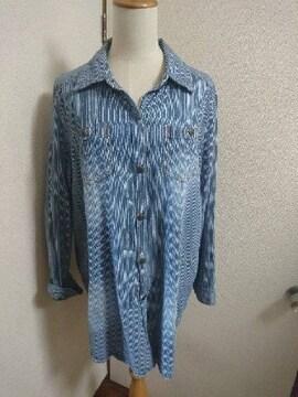 長袖☆ヒッコリー☆ブルー☆ロングシャツ