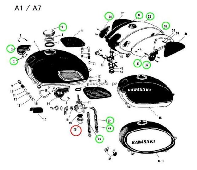 カワサキ SG W1 B8 B1 A1 F3 F4 F6 F8 コックカップ 新品 < 自動車/バイク