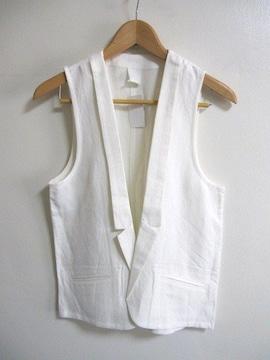 □HARE/ハレ 麻レーヨン ベスト/ホワイト☆新品
