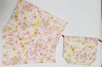39 ぷーさん ランチョンマット2枚&巾着(^o^)3点set  ハンドメイド