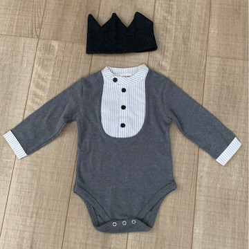 新品Baby韓国子供服LITTLE PAGE長袖ロンパMお祝いフォーマル