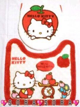 【キティ】可愛いトイレマット&カバー洋式2点セット�@