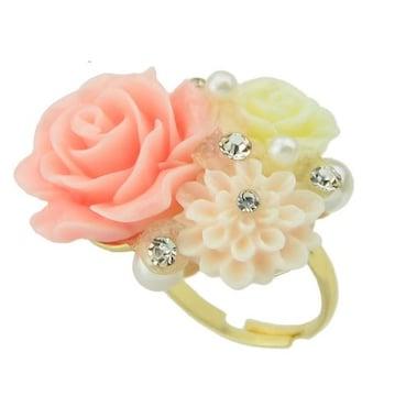 新品ゴスロリ姫系アンティーク調春色パステル薔薇リング指輪