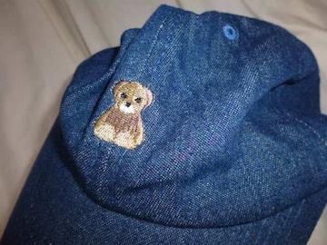 キャップMILIデニム女子フリーくまさん刺繍コットン帽子ブルー